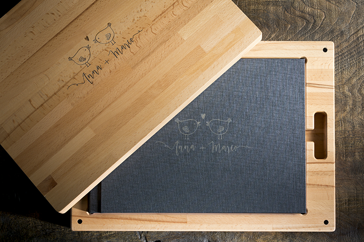 Wooden packaging for wedding albums
