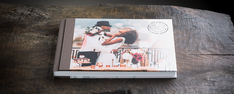 Album per matrimonio con copertina stampata e dorso in tela