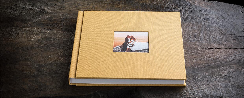Album wedding formato quadrato in lino con inserto fotografico